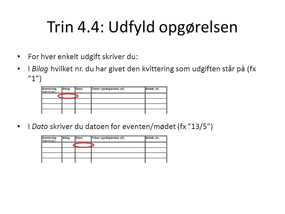Trin 4.4: Udfyld opgørelsen