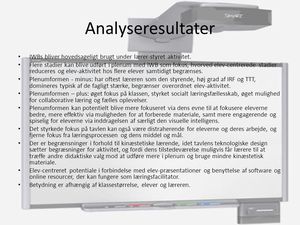 Analyseresultater IWBs bliver hovedsageligt brugt under lærer-styret aktivitet.