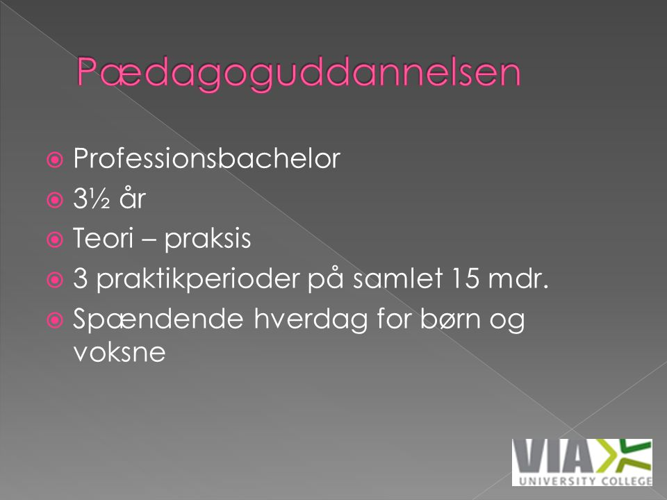 Pædagoguddannelsen Professionsbachelor 3½ år Teori – praksis