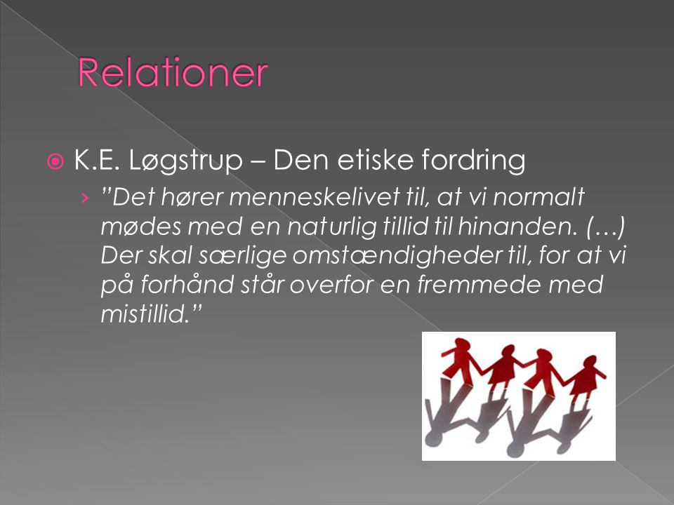 Relationer K.E. Løgstrup – Den etiske fordring