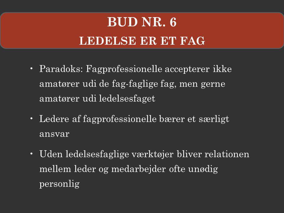 BUD NR. 6 LEDELSE ER ET FAG. Paradoks: Fagprofessionelle accepterer ikke amatører udi de fag-faglige fag, men gerne amatører udi ledelsesfaget.