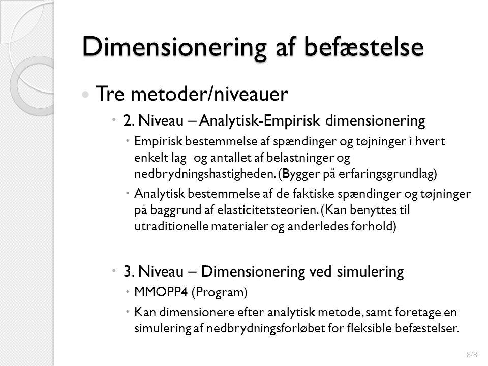 Dimensionering af befæstelse