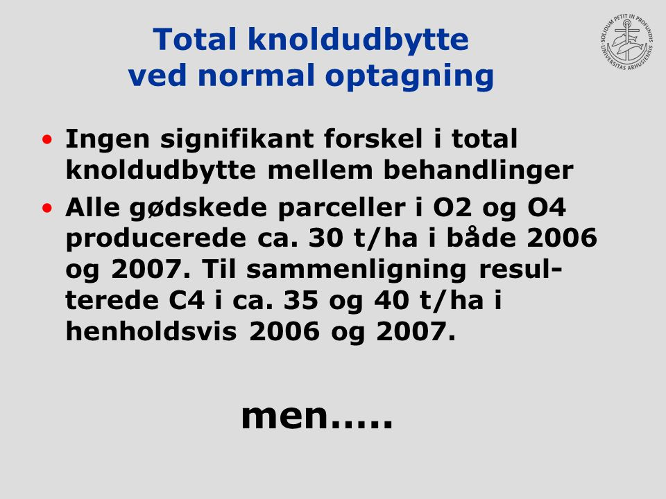 Total knoldudbytte ved normal optagning