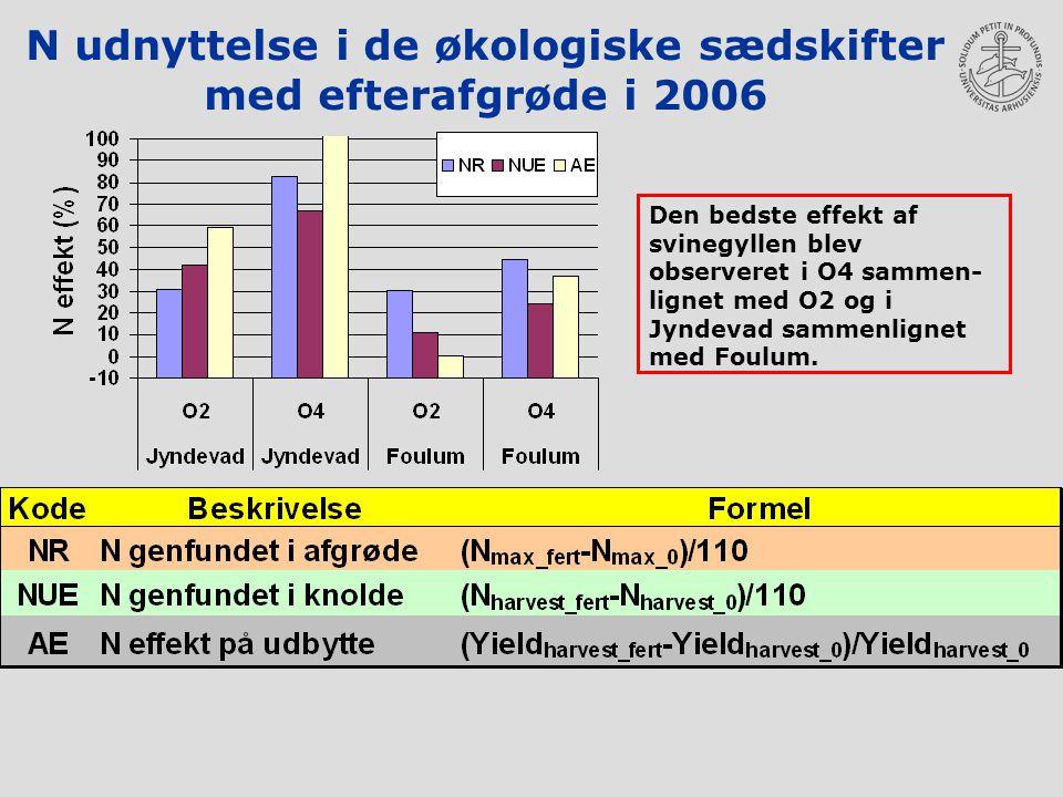 N udnyttelse i de økologiske sædskifter med efterafgrøde i 2006