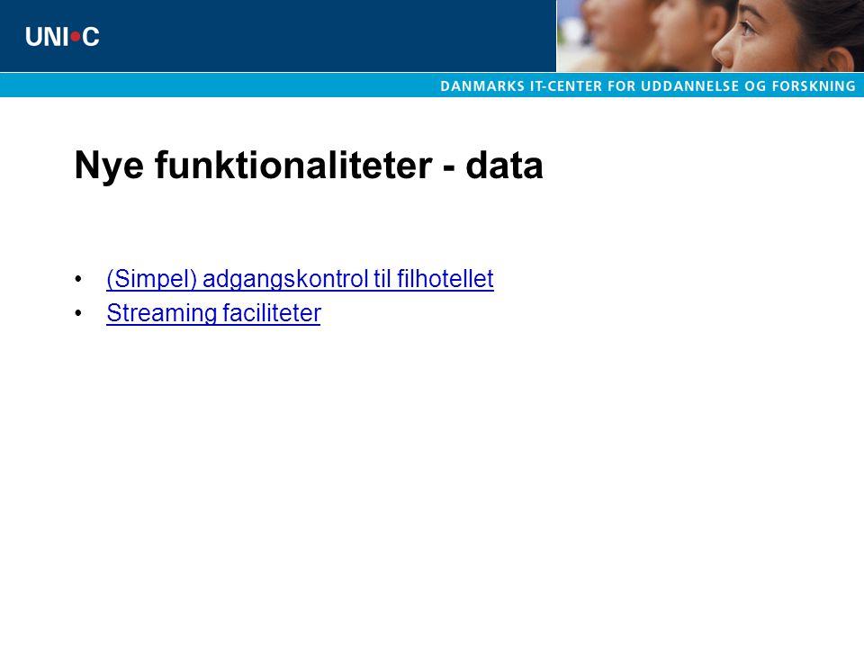 Nye funktionaliteter - data