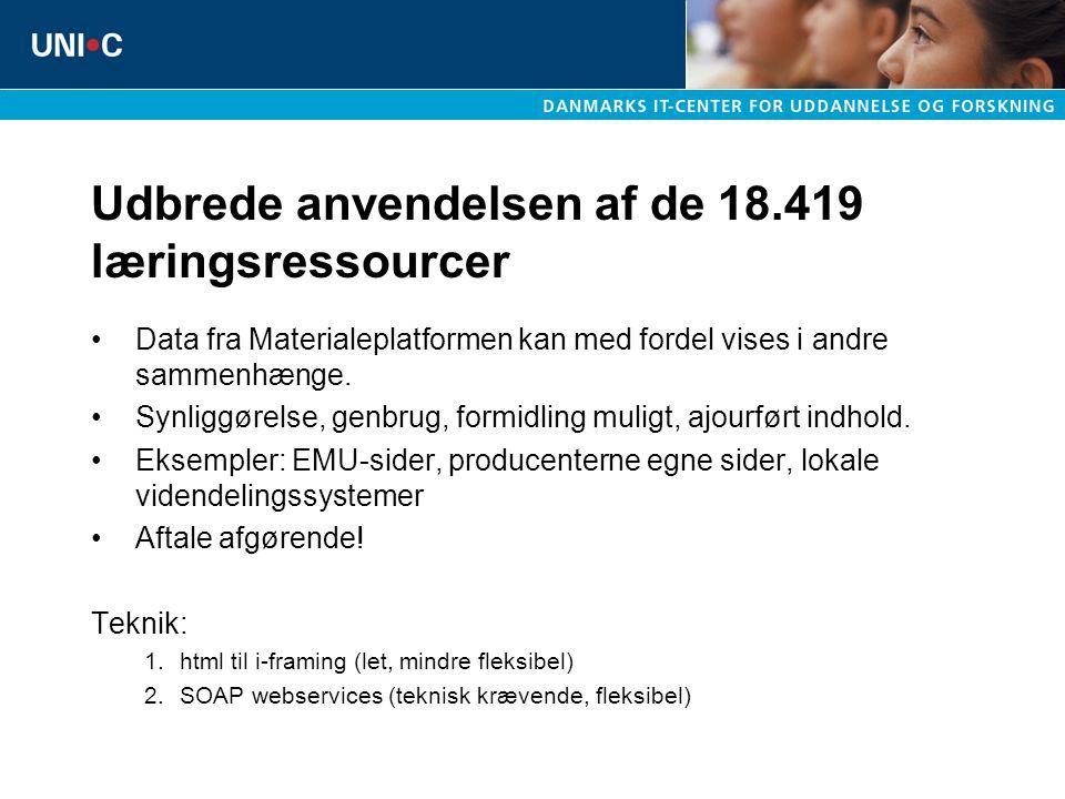 Udbrede anvendelsen af de 18.419 læringsressourcer