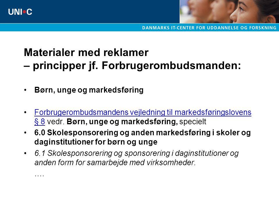 Materialer med reklamer – principper jf. Forbrugerombudsmanden: