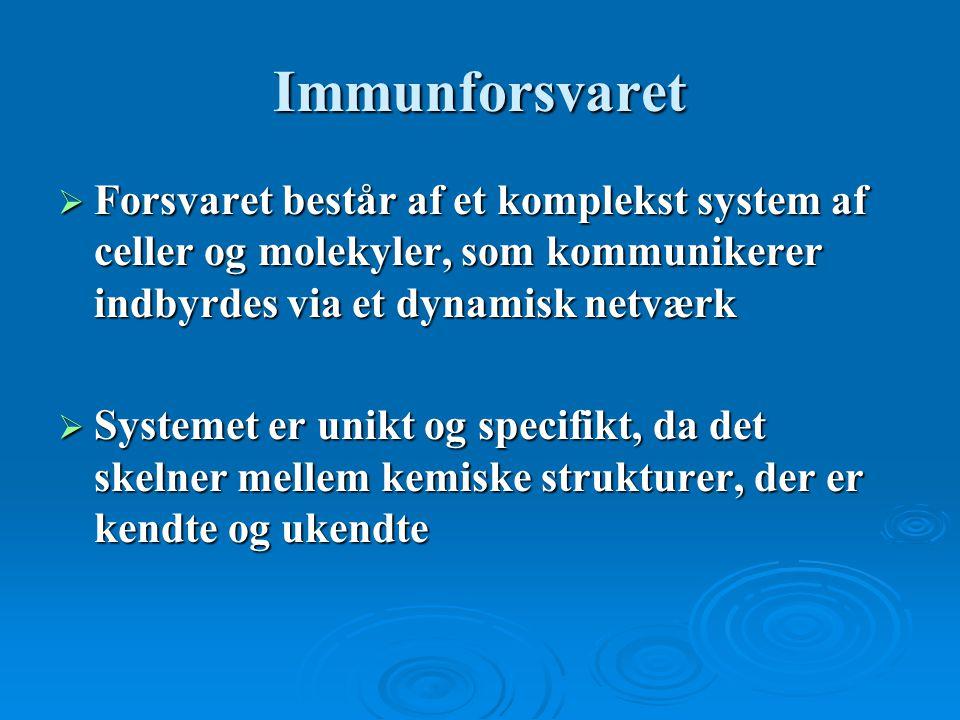 Immunforsvaret Forsvaret består af et komplekst system af celler og molekyler, som kommunikerer indbyrdes via et dynamisk netværk.