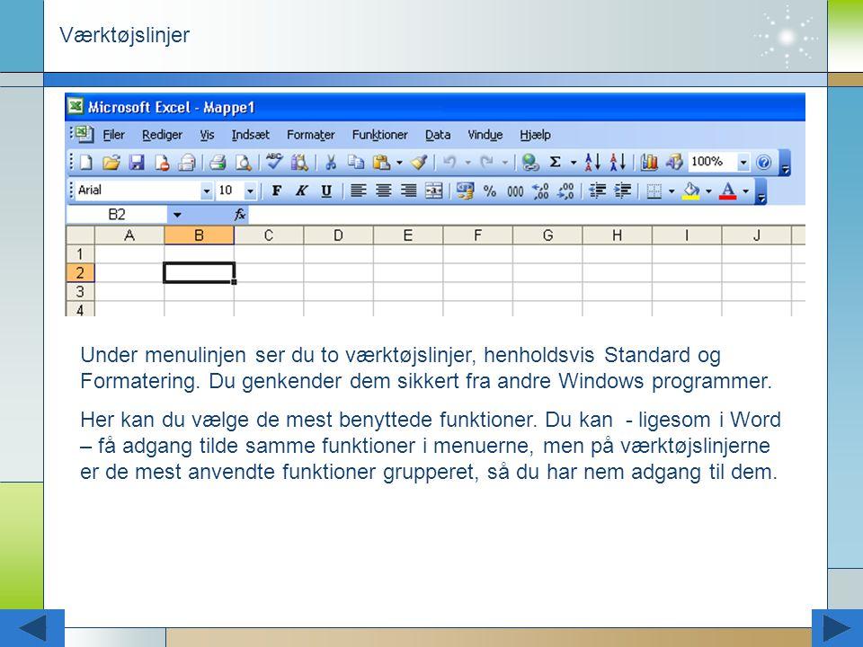 Værktøjslinjer Under menulinjen ser du to værktøjslinjer, henholdsvis Standard og Formatering. Du genkender dem sikkert fra andre Windows programmer.