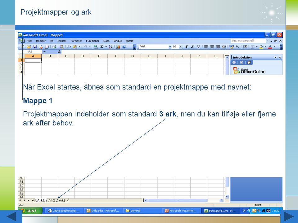 Projektmapper og ark Når Excel startes, åbnes som standard en projektmappe med navnet: Mappe 1.