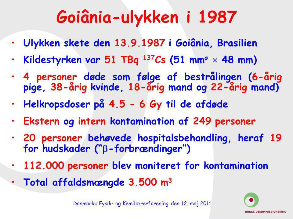 Goiânia-ulykken i 1987 Ulykken skete den 13.9.1987 i Goiânia, Brasilien. Kildestyrken var 51 TBq 137Cs (51 mmø  48 mm)