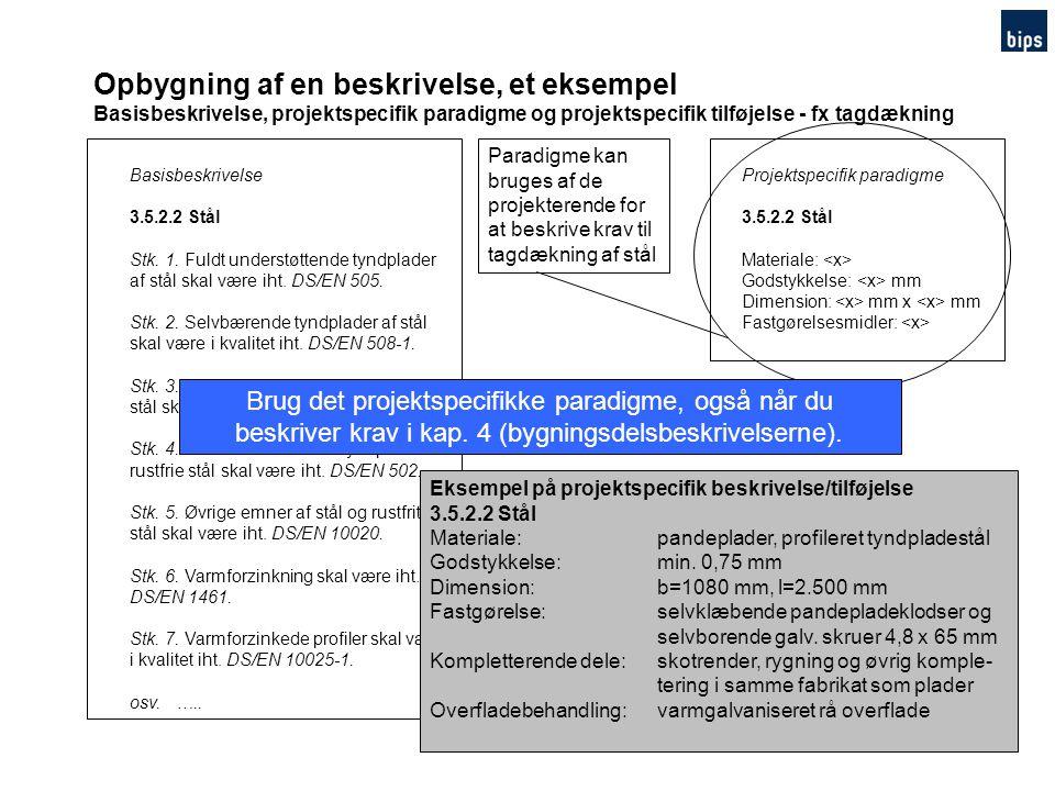 Opbygning af en beskrivelse, et eksempel Basisbeskrivelse, projektspecifik paradigme og projektspecifik tilføjelse - fx tagdækning