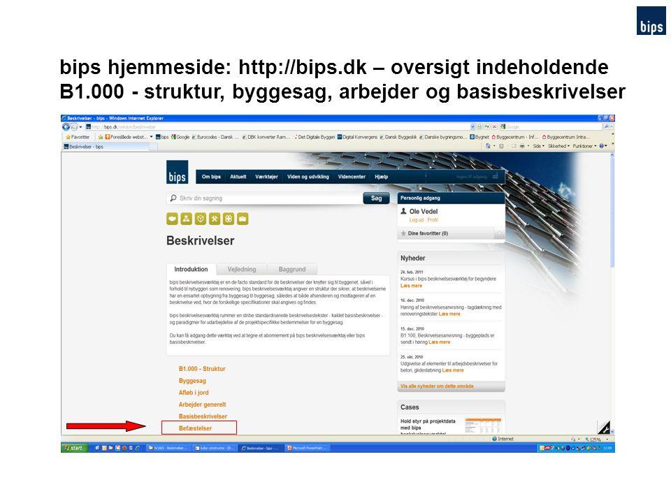 bips hjemmeside: http://bips.dk – oversigt indeholdende
