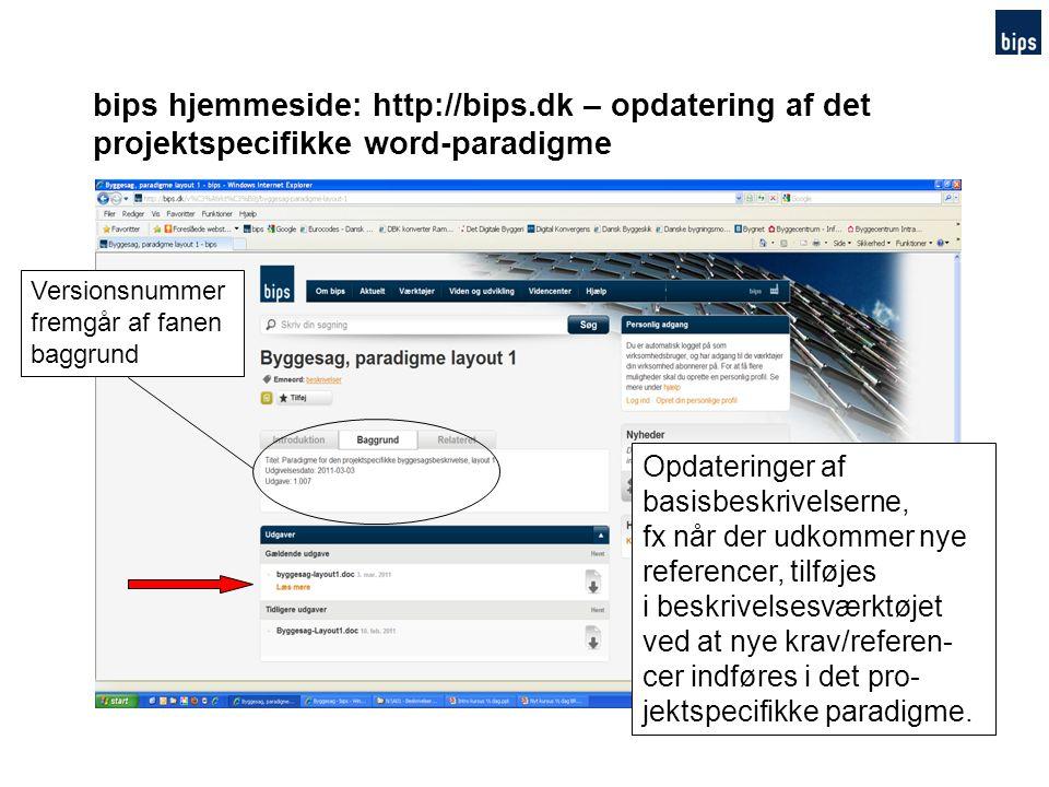 bips hjemmeside: http://bips.dk – opdatering af det