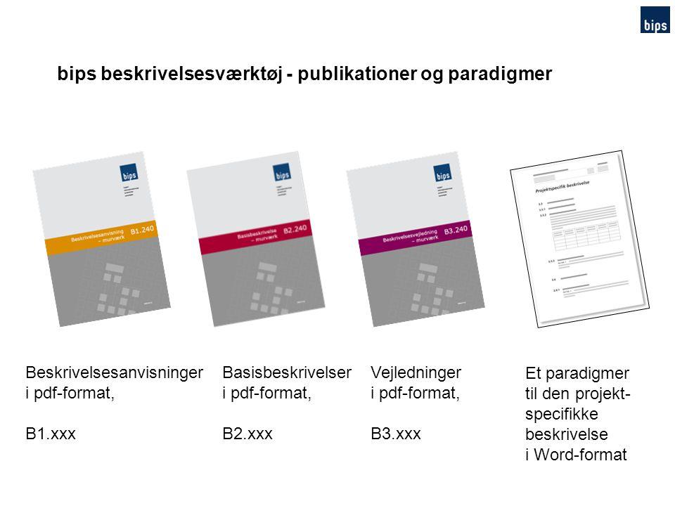 bips beskrivelsesværktøj - publikationer og paradigmer