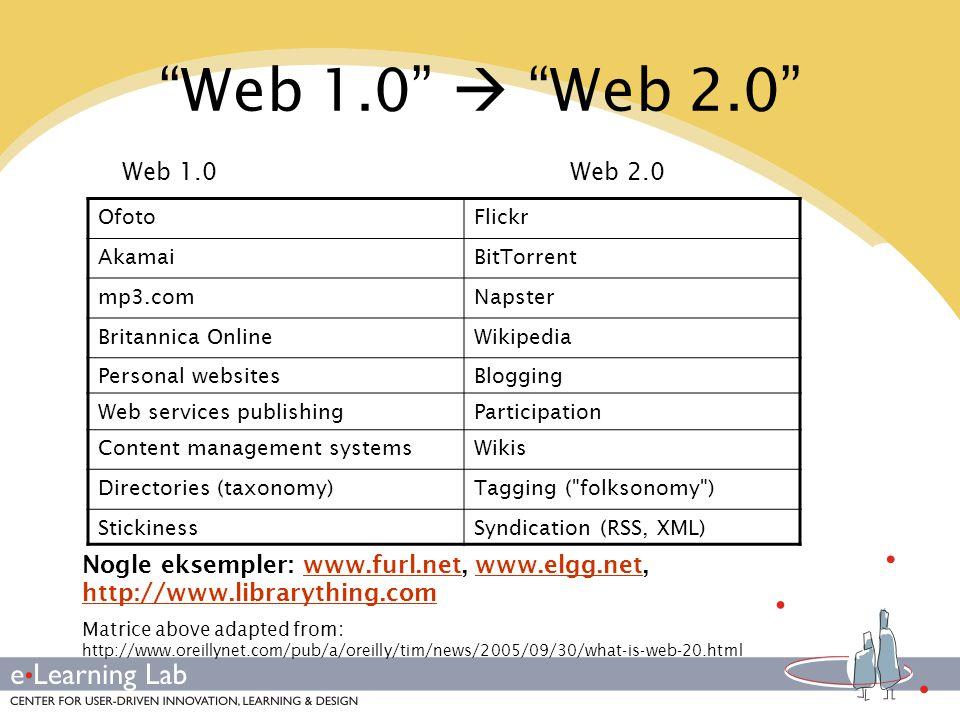 Web 1.0  Web 2.0 Web 1.0. Web 2.0. Ofoto. Flickr. Akamai. BitTorrent. mp3.com. Napster.