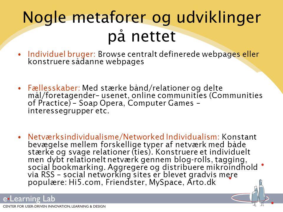 Nogle metaforer og udviklinger på nettet
