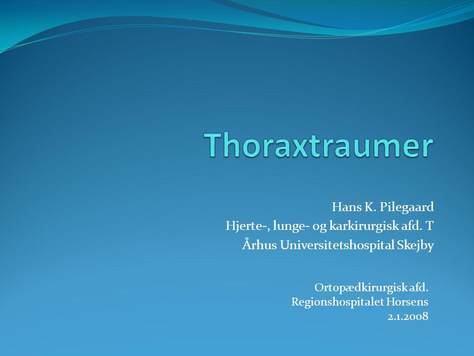Thoraxtraumer Hans K. Pilegaard Hjerte-, lunge- og karkirurgisk afd. T