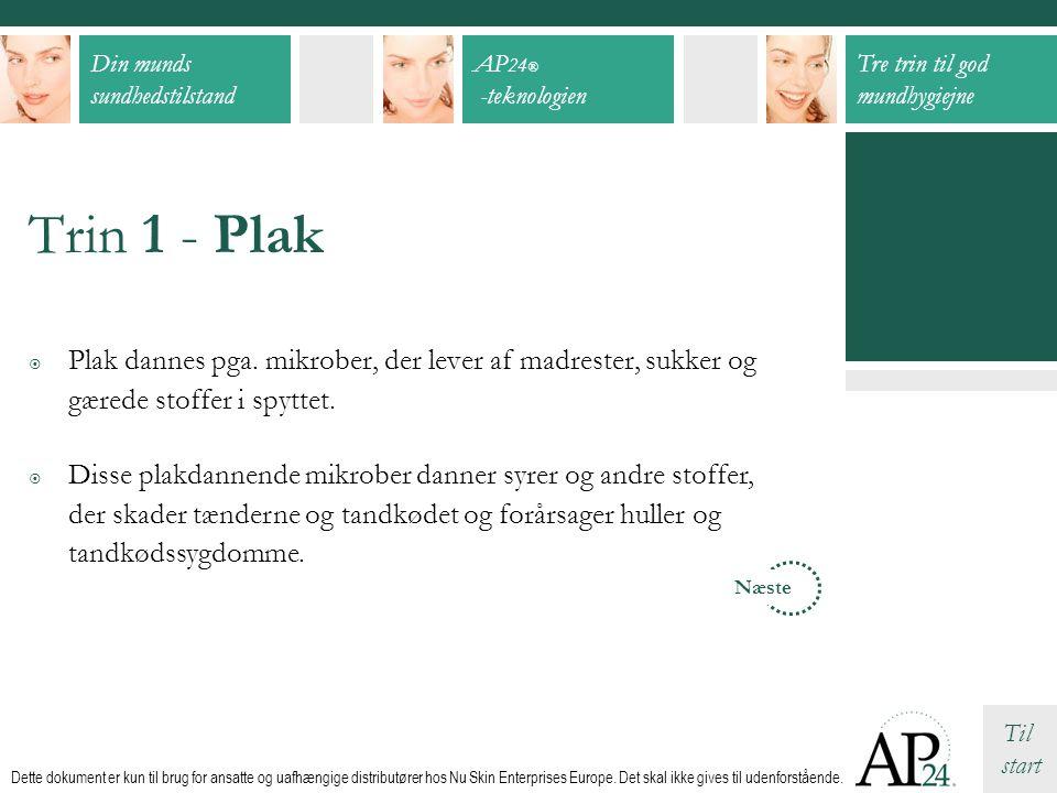 Trin 1 - Plak Plak dannes pga. mikrober, der lever af madrester, sukker og gærede stoffer i spyttet.