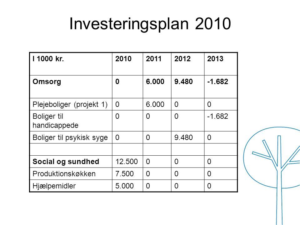 Investeringsplan 2010 I 1000 kr. 2010 2011 2012 2013 Omsorg 6.000