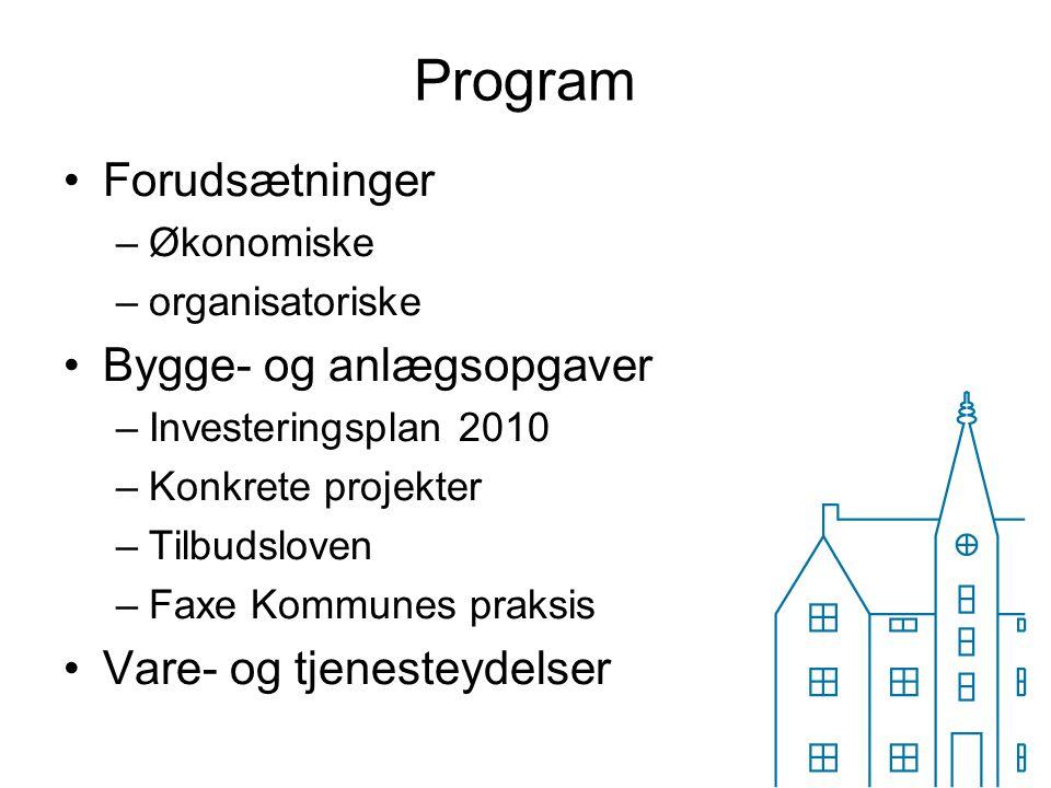 Program Forudsætninger Bygge- og anlægsopgaver