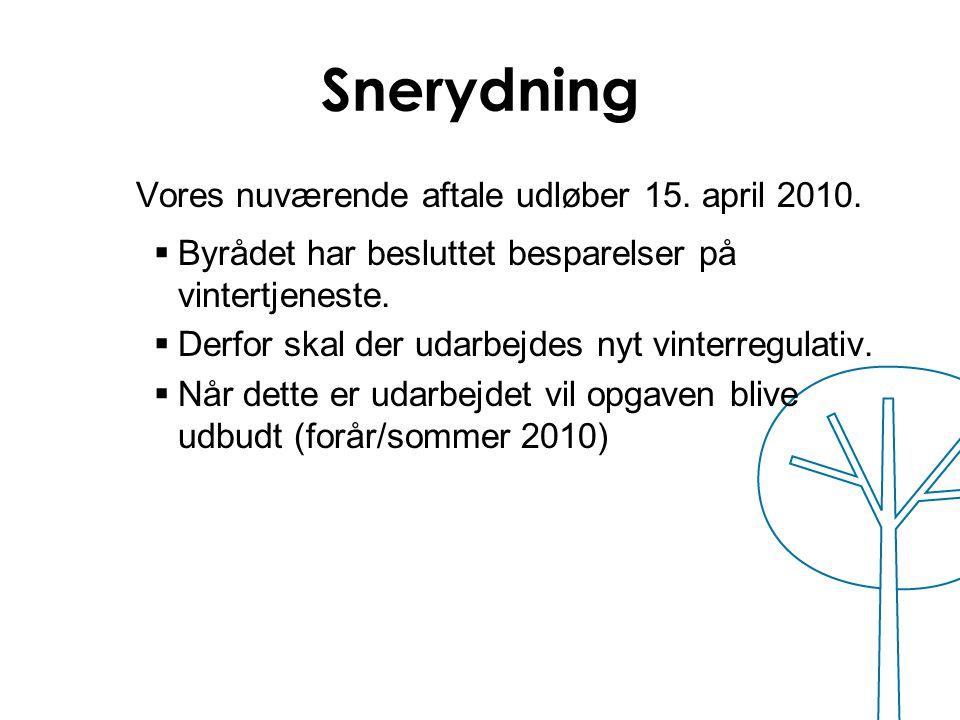 Snerydning Vores nuværende aftale udløber 15. april 2010.