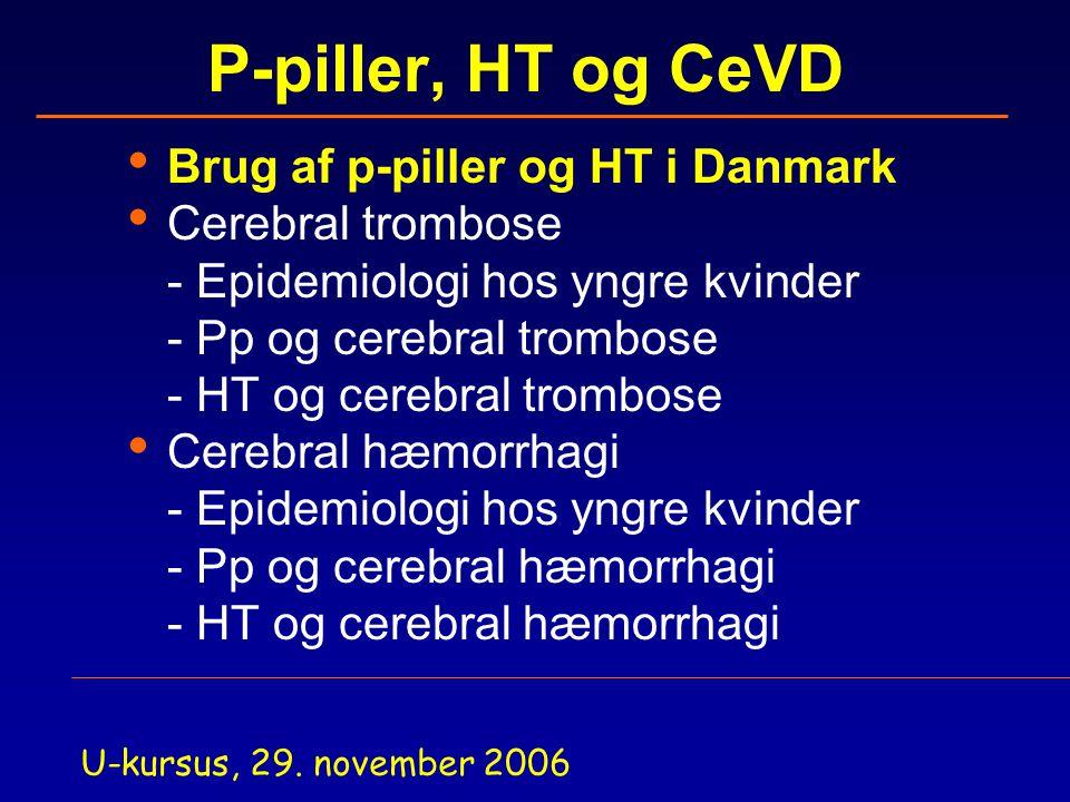 P-piller, HT og CeVD Brug af p-piller og HT i Danmark