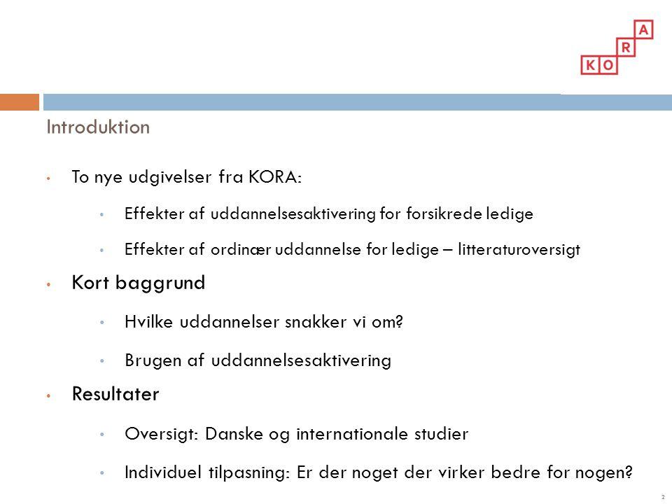 Introduktion Kort baggrund Resultater To nye udgivelser fra KORA:
