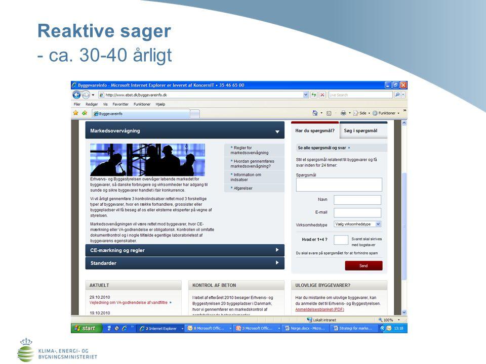 Reaktive sager - ca. 30-40 årligt