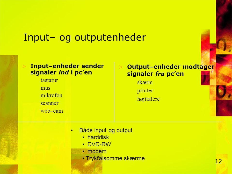 Input– og outputenheder