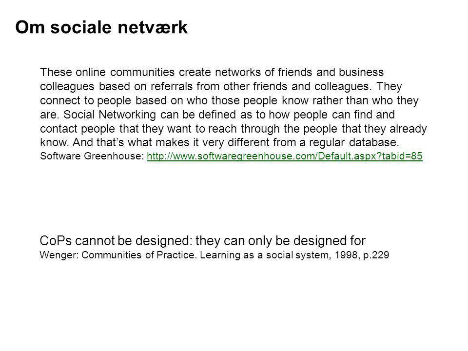 Om sociale netværk