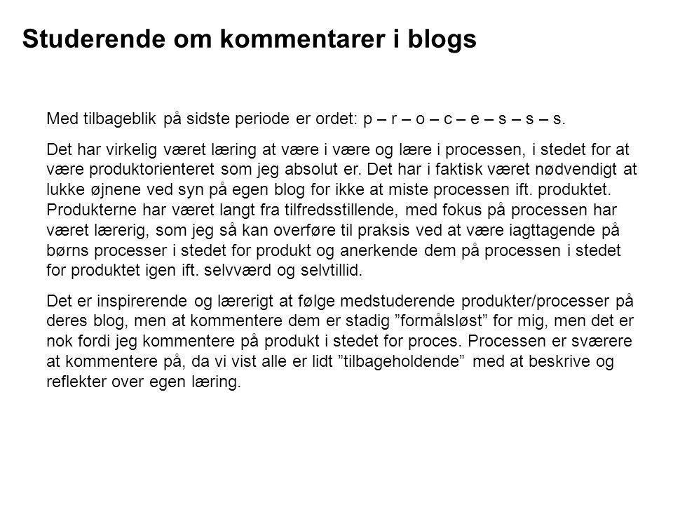 Studerende om kommentarer i blogs