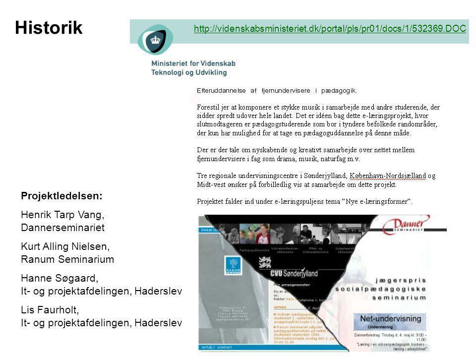 Historik Projektledelsen: Henrik Tarp Vang, Dannerseminariet