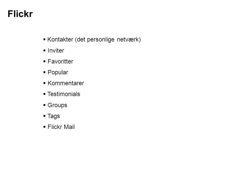 Flickr Kontakter (det personlige netværk) Inviter Favoritter Popular