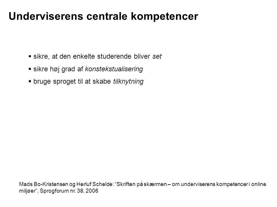 Underviserens centrale kompetencer