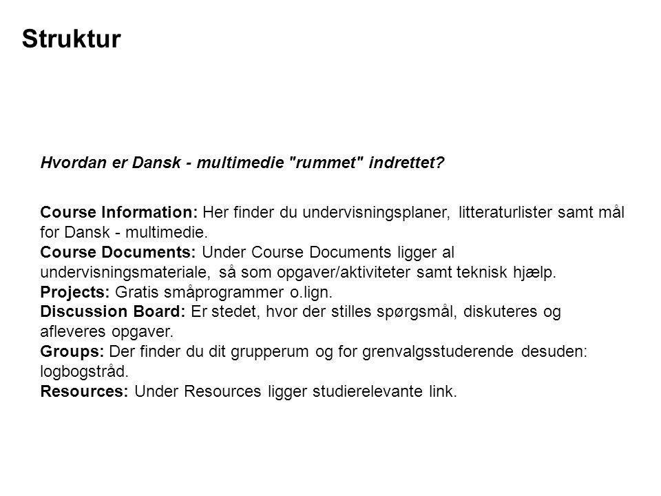 Struktur Hvordan er Dansk - multimedie rummet indrettet