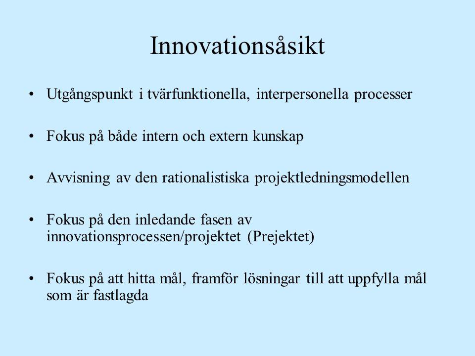 Innovationsåsikt Utgångspunkt i tvärfunktionella, interpersonella processer. Fokus på både intern och extern kunskap.