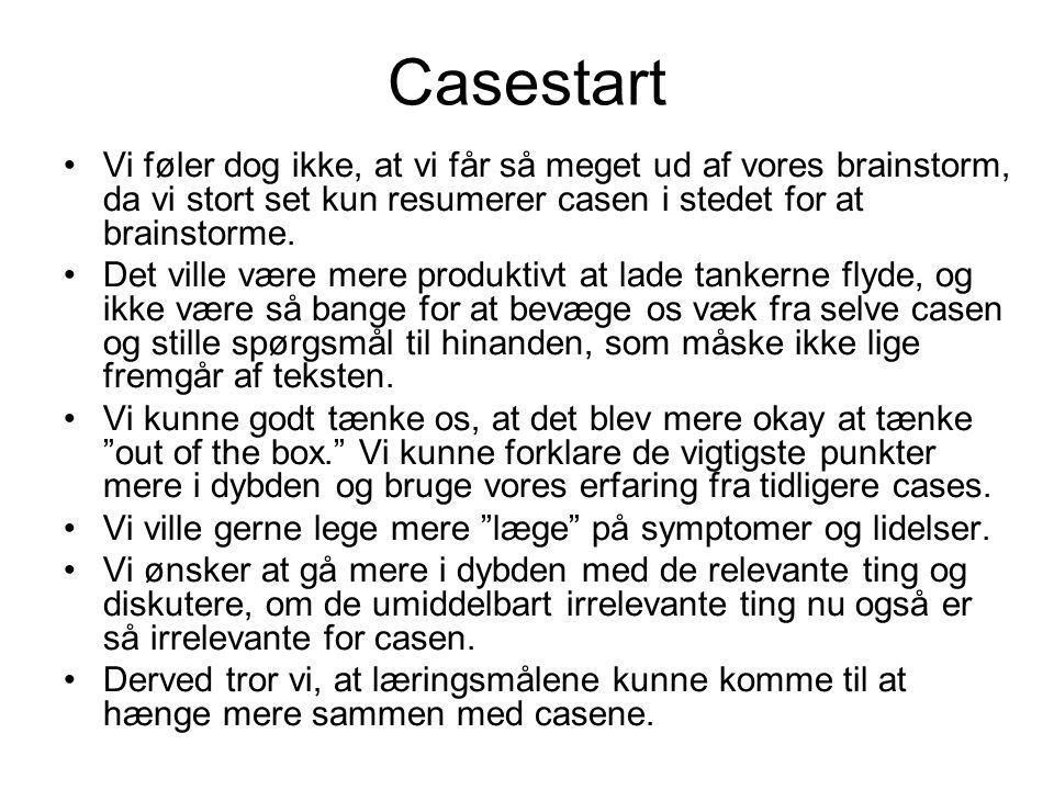 Casestart Vi føler dog ikke, at vi får så meget ud af vores brainstorm, da vi stort set kun resumerer casen i stedet for at brainstorme.
