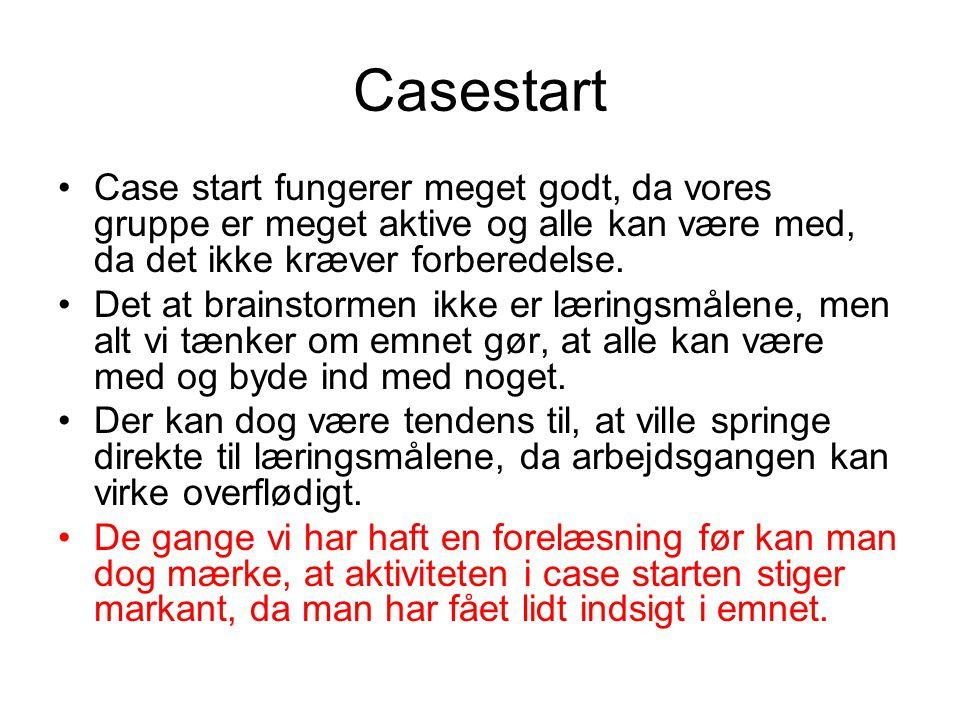 Casestart Case start fungerer meget godt, da vores gruppe er meget aktive og alle kan være med, da det ikke kræver forberedelse.