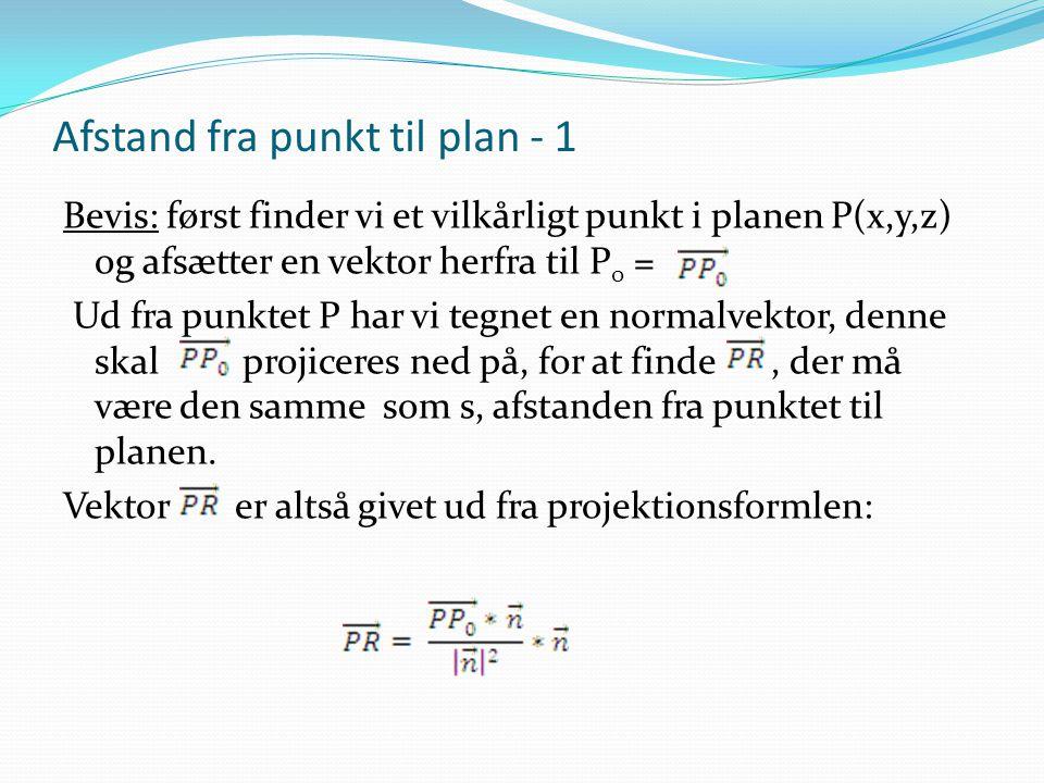 Afstand fra punkt til plan - 1