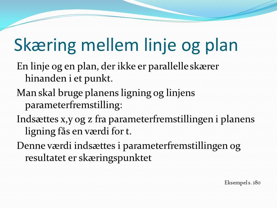 Skæring mellem linje og plan