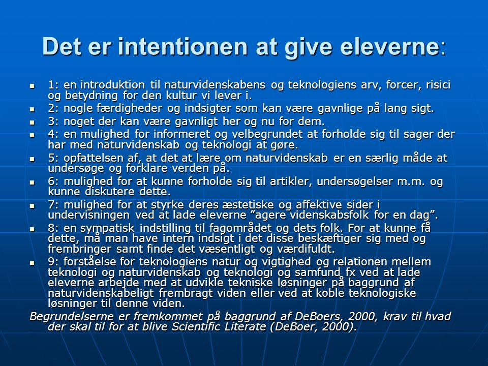 Det er intentionen at give eleverne: