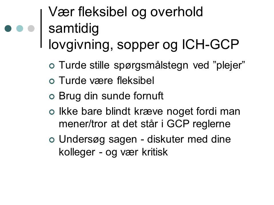 Vær fleksibel og overhold samtidig lovgivning, sopper og ICH-GCP