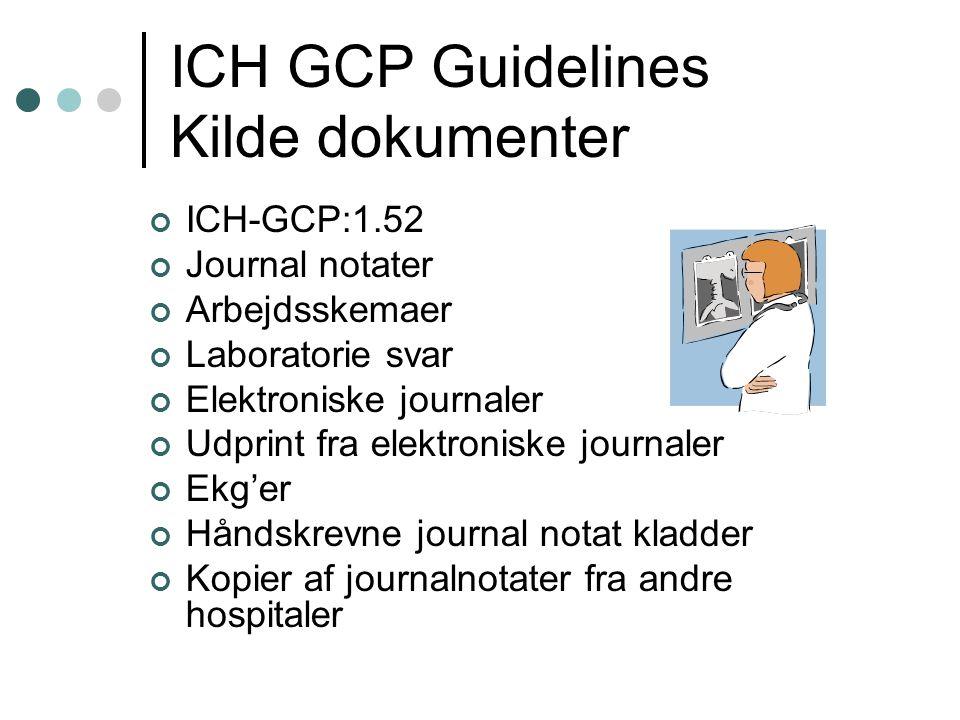 ICH GCP Guidelines Kilde dokumenter