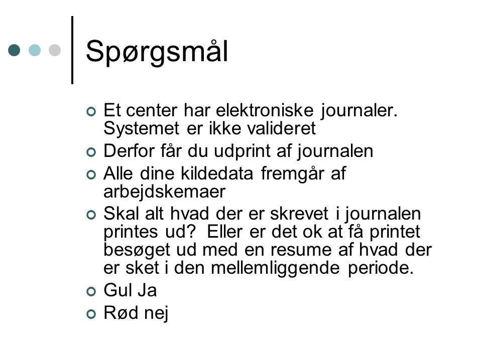 Spørgsmål Et center har elektroniske journaler. Systemet er ikke valideret. Derfor får du udprint af journalen.