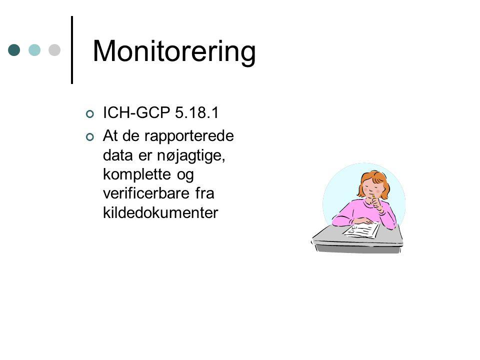 Monitorering ICH-GCP 5.18.1. At de rapporterede data er nøjagtige, komplette og verificerbare fra kildedokumenter.