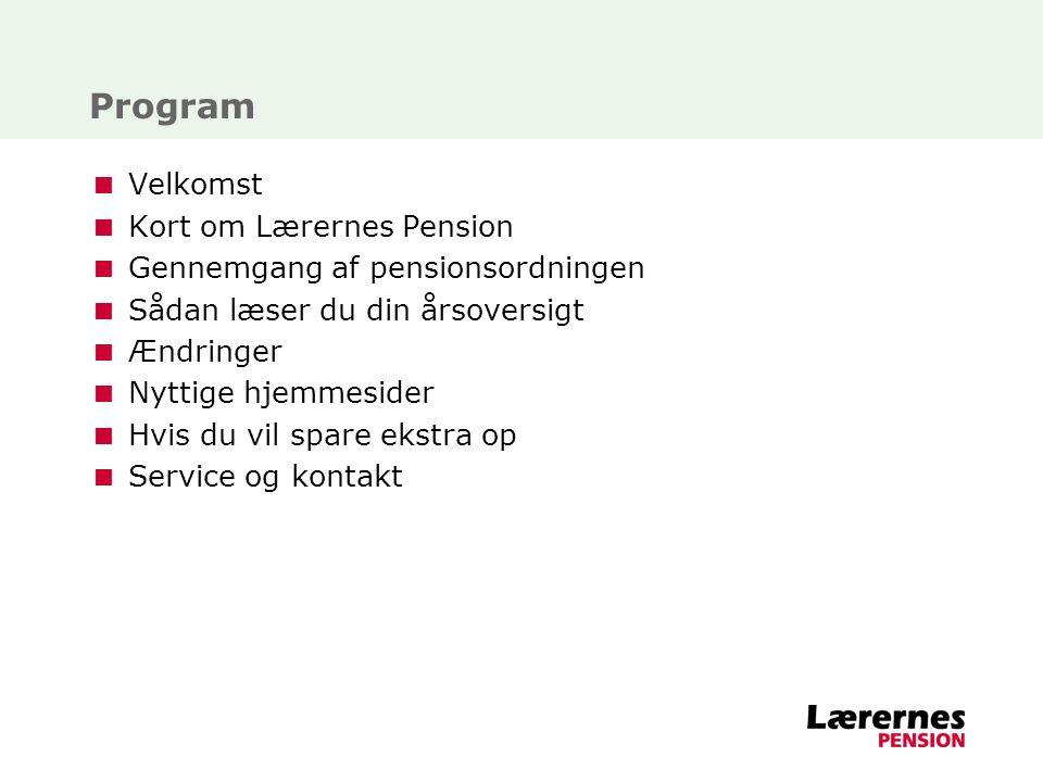 Program Velkomst Kort om Lærernes Pension