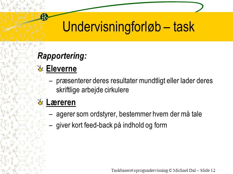 Undervisningforløb – task