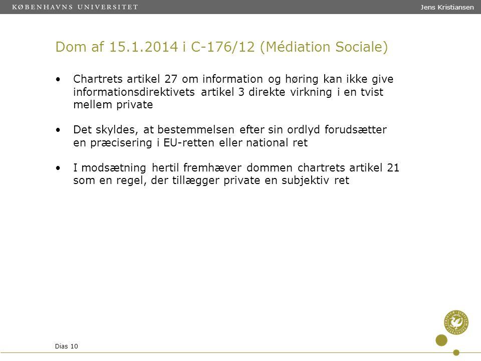 Dom af 15.1.2014 i C-176/12 (Médiation Sociale)