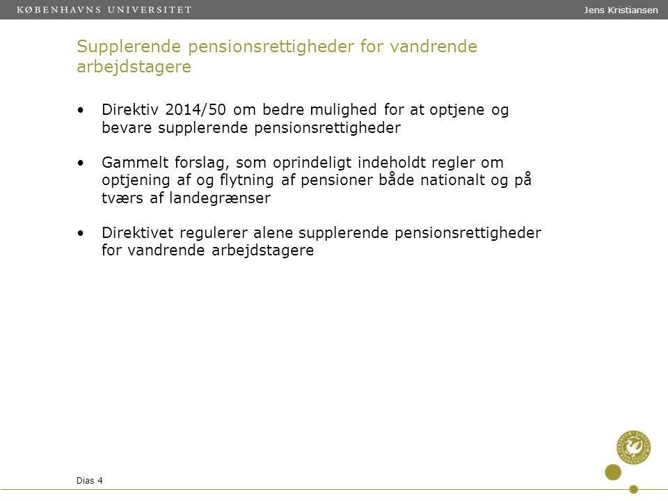 Supplerende pensionsrettigheder for vandrende arbejdstagere